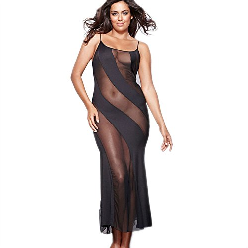 Womens Plus Size Sheer Mesh Lingerie Illusion Nightgown ...
