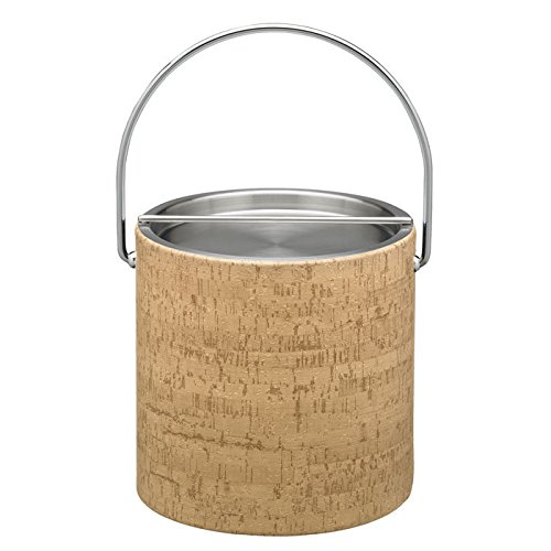 Kraftware 16068 Natural Cork 3Qt Ice Bucket With Metal Bar Cover