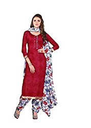 Minu Suits Tomato Maroon Cotton Printed Salwar Suits Fully Unstitched Dress material