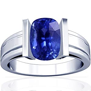 18K White Gold Cushion Cut Blue Sapphire Mens Ring
