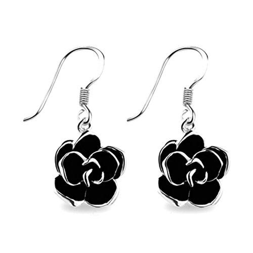 Stocking Fillers Yoursfs [], Rich Dynamic Black Rose, placcati in oro 18 k e orecchini a forma di fiore, per festa, Metallo, colore: Oro bianco, cod. E051W1