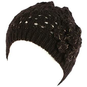 Crochet Flower Vent Knit Beanie Skull Winter Hat Black