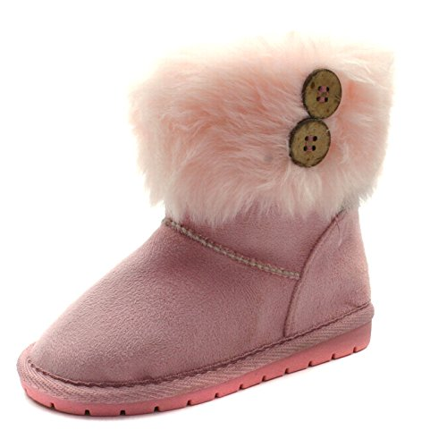 SB121 Studio BIMBI Girls Mid Calf Pull On Baby Boots in Pink Faux Suede Taglia 28