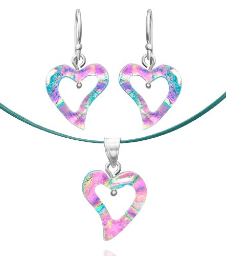 Sterling Silver Dichroic Glass Translucent Pink and Light Blue Heart-Shaped Pendant and Earrings Set, 18