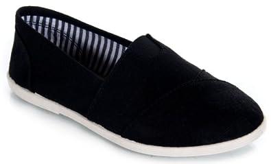Soda OBJECT Women's Mock Tom's Slip On Canvas Linen Flats, Black/White linen, 5.5
