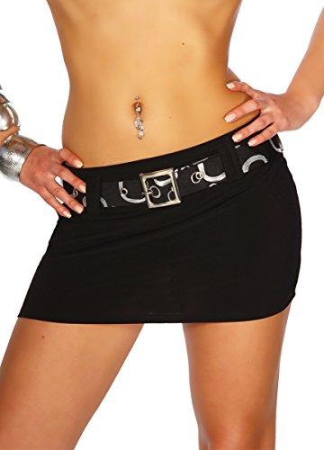 Minigonna Arunta sexy corto con cintura per rimuovere in elastan 3 taglie 36 38 40 nero 36