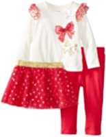 Vitamins Baby Baby Girls' Sparkle And Bows 3 Piece Skirt Legging Set