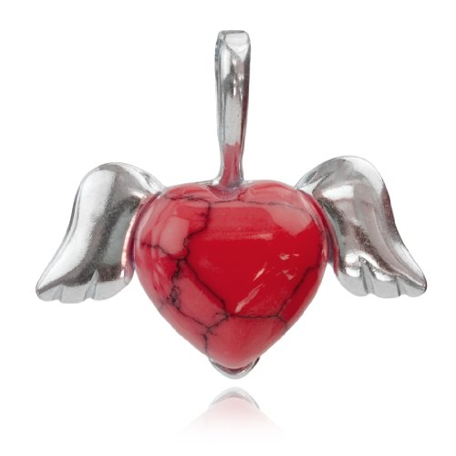 Sterling Silver Imitation Red Turquoise Winged Heart Pendant