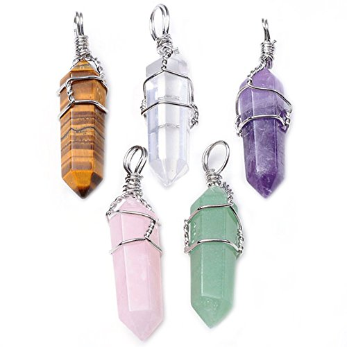 Top Plaza 5pcs Natural Amethyst+ Rose Quartz + Tiger Eye