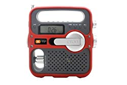 Etn FR360R Solarlink Self-Powered Digital AM/FM/NOAA Radio with Solar Power Flashlight and Cell Phone Charger (Red)