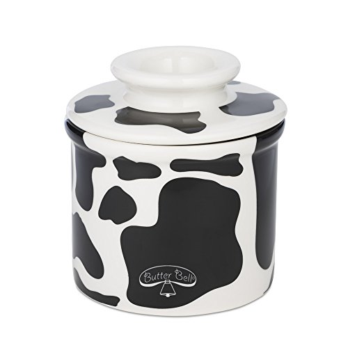 The Original Butter Bell Crock by L Tremain - Cow Pattern, Black and White