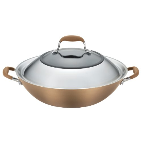 Anolon Advanced Bronze Hard-Anodized Nonstick 14-Inch Covered Wok, Bronze (Anolon Wok Pan compare prices)