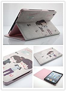 NineSeas Superior Quality Slim Flexible Cute Lovers & Couples Protective Shell Leather Case Cover for Apple iPad Mini Model MD531LL/A MD528LL/A and MD540LL/A Tablet with Flip Stand(Auto Wake/Sleep Feature) Inner Pink