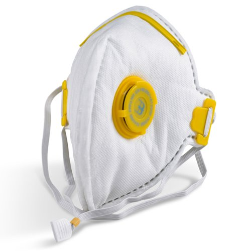 5 Pack of Flat Fold P3 Valve Respirator Face Mask for Asbestos, Hardwood Dust Glass Fibres & Plastic Particles - Comes with TCH Anti-Bacterial Pen!