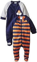 Gerber Baby Boys\' 2 Pack Zip Front Sleep \'N Play, Sports, Newborn