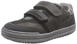 Geox J Elvis 26 Sneaker (Toddler/Little Kid/Big Kid), Grey/Black, 26 EU (9 M US Toddler)