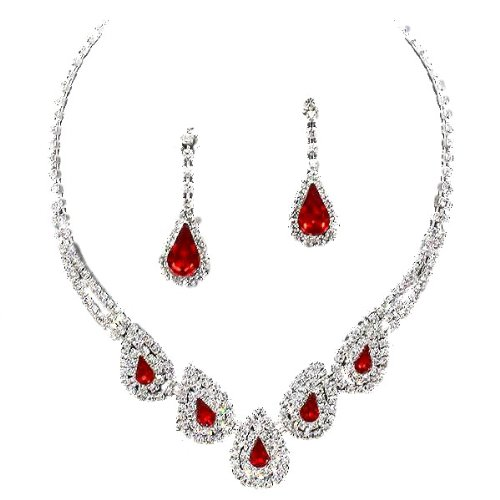 Glitzy Glamour Red Crystal/Clear Diamante Teardrop Necklace Set