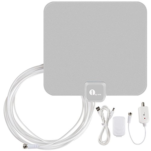 1byone OUS00-0560 Amplified HDTV Antenna with USB Power Supply 16.5 Feet Coaxial Cable – Silver/Black