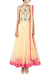 SK Clothing OffWhite Color Gerogette & Net Embroidered Semi_Stiched Dress For Women