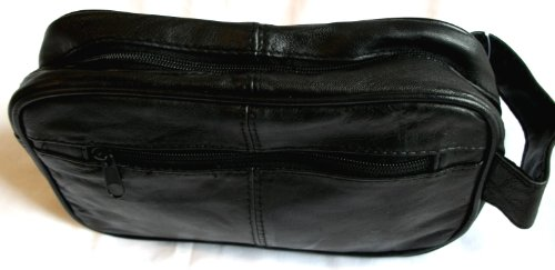 Genuine Real Leather Mens Wash Bag / Toiletry Case / Overnight Bag (Black)