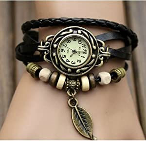 WAWO Quartz Fashion Weave Wrap Around Leather Bracelet Lady Woman Wrist Watch (Black leaf)