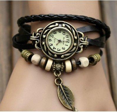 watches WAWO Quartz Fashion Weave Wrap Around Leather Bracelet Lady Woman Wrist Watch (Black leaf)