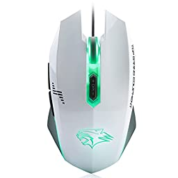 Qisan(TM) Gaming Mouse USB Wired Smooth Surface Mice 4000 DPI 7 Programable Button DU011(Smooth Surface White) w/ Qisan Micro USB USB 2.0 Host OTG Cable Adapter Compatible with All Android Devices