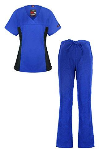 MediFit Women's Mock Wrap Medical Top & Pants Scrub Set(SET-MED,RYB-2XL)