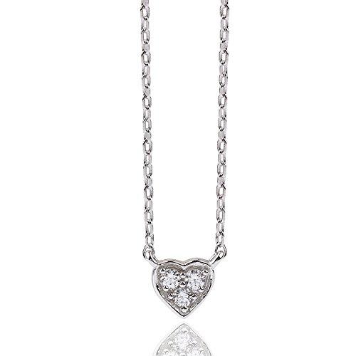 [ジュエリーキャッスル] Jewelry Castle ネックレス H&C (ハート&キューピッド) スリーストーン プチハートネックレス プラチナ czダイヤモンド