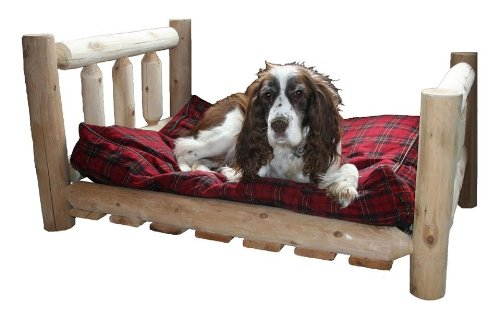 Wood DOG BED Rustic Log Wooden Pet Vertical Bed- Large