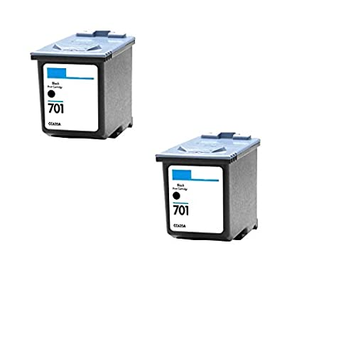 Remanufactured Ink Cartridge Replacement for HP 701 CC635A (2 Black)