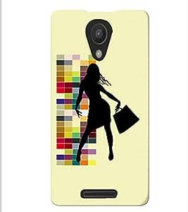 Fuson Shopping Pattern Girl Back Case Cover for XIAOMI REDMI NOTE 2 - D4056