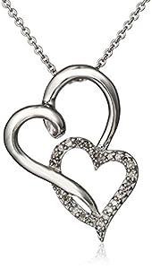 "Sterling Silver Diamond Double Open Heart Pendant Necklace (1/10 cttw), 18"""