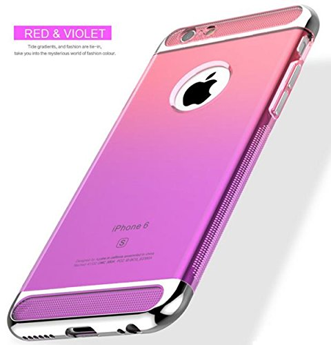 iPhone 6 Plus Case,Inspirationc 3 in 1 Ultra-thin Anti-Scratch Shockproof Electroplate Metal TPU Soft Silicone Texture Armor Rubber Case Cover for iPhone 6 Plus/6S Plus 5.5 Inch--Red and Purple