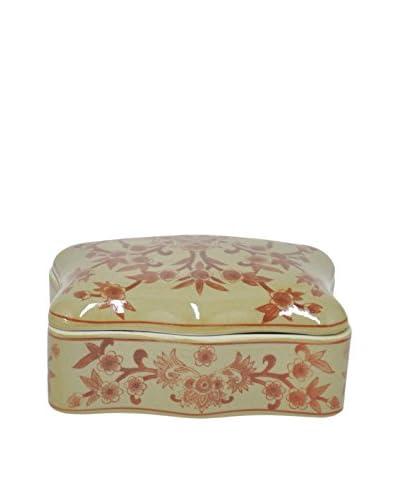 Three Hands Ceramic Box, Yellow/Orange