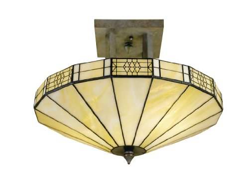 Dale Tiffany 8678/2LTF Umbrella Flush Mount Light, Antique Bronze and Art Glass Shade
