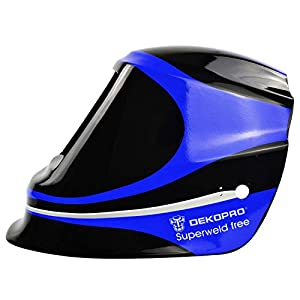 DEKO Blue Big LCD View Area Solar Auto Darkening Electric Welding Mask/Helmet/Welder Cap/Welding Lens for Welding Machine Or Plasma Cutter from DEKO