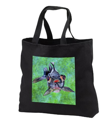 Tb_46714_1 Taiche - Acrylic Painting - Fish - Black Moor Goldfish - Black Moor Goldfish, Telescope Goldfish, Goldfish, Dragon Eye Goldfish - Tote Bags - Black Tote Bag 14W X 14H X 3D
