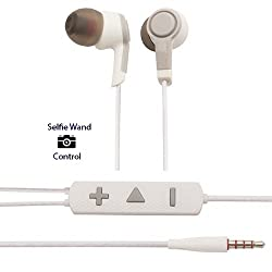 [SELFIE EARPHONES] Skylark 3.5mm Stereo Headset with Remote and Mic for MI Oneplus apple samsung devices- White