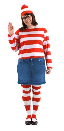 elope Where's Waldo Adult Plus Size Wenda Costume Kit