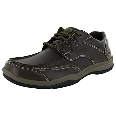 Skechers Relaxed Fit Mens 63760 Valko - Welson Oxford Shoe, Dark Brown, US 7.5