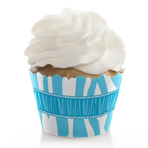 Blue Baby Zebra - Baby Shower Cupcake Wrappers