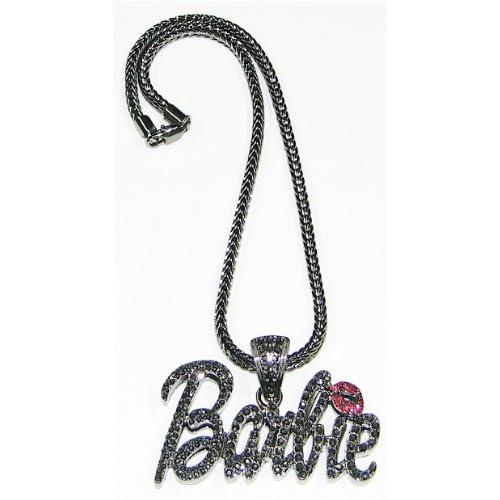 Nicki Minaj Barbie Iced Out Pendant Necklace Gun Metal Color With Red Lips Medium