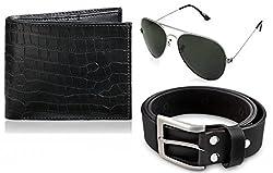 Rico Sordi leather wallet with sunglass & Belt(design-1) (Black) - RSM_14_49_WSGB