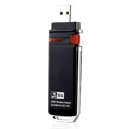 Kingzer double bande 802.11a/b/g/N (Wi-Fi)-adaptateur sans fil N USB 2,4/5 GHz antennes intérieures
