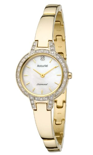 Accurist Pure Precision Women's Quartz Watch with Mother of Pearl Dial Analogue Display and Gold Stainless Steel Plated Bangle LB1584P