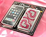 【SoftBank 専用】 iPhone専用 液晶保護フィルム&ジュエリーストーンステッカー ハートプッチ ピンク