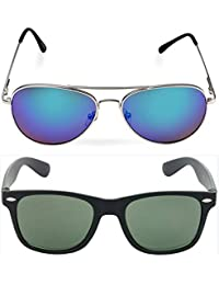 I DID Combo Of Silver - Greenish Blue Mirror Aviator And Black Wayfarer Sunglasses For Men And Women With UV Protection...