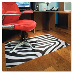 Es Robbins Trendsetter Rectangle Zebra Printed Office Chair Mat For Hard Floors, 36 By 48-Inch front-866762