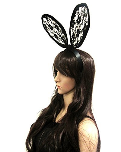 Celebrity Style Lace Bunny Ears Headband Halloween Party Costume Black JM6023BK